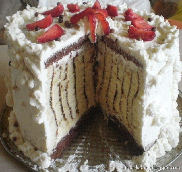 Moje pyszne, łatwe i sprawdzone przepisy :-) : wyjątkowy tort inny niż wszystkie, prążkowany poprzecznie, zwijany.