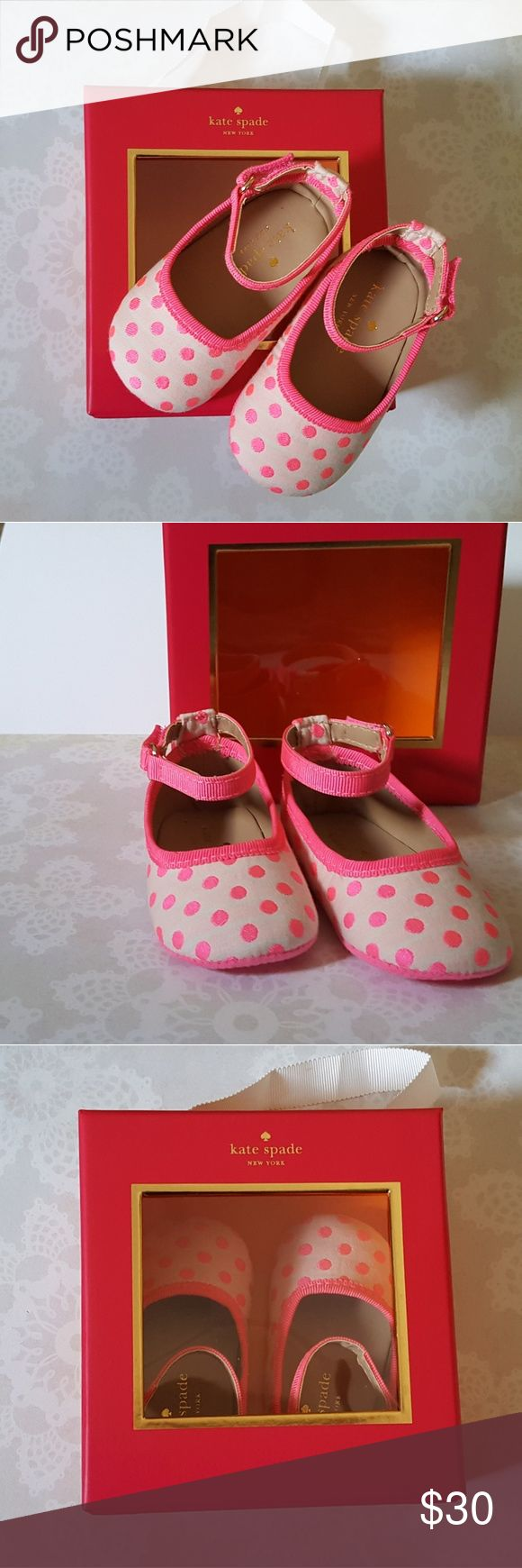 Kate Spade Baby Girl Polka Dot Flat Super cute, Kate Spade Baby Girl Pink Polka Dot Flats. Perfect baby shower gift or for any occasion. Dress your baby girl in style! Kate Spade Shoes Baby & Walker