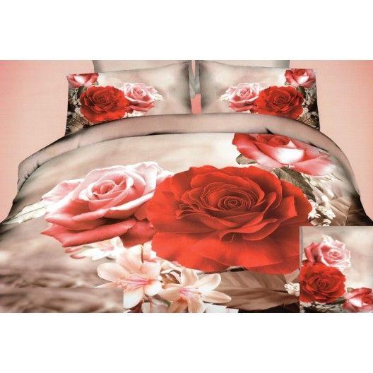 Béžové 3D posteľné obliečky s motívom farebných ruží