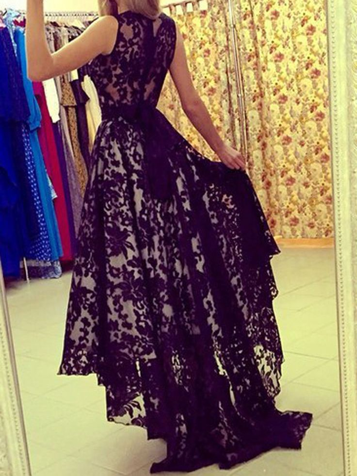 Black Lace Sleeveless High Low Maxi Dress | Choies