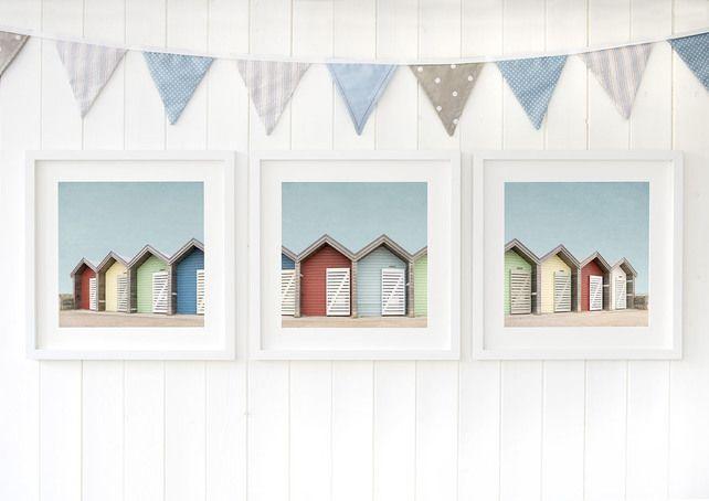 Blyth Beach Huts Northumberland Seaside Wall Art North East
