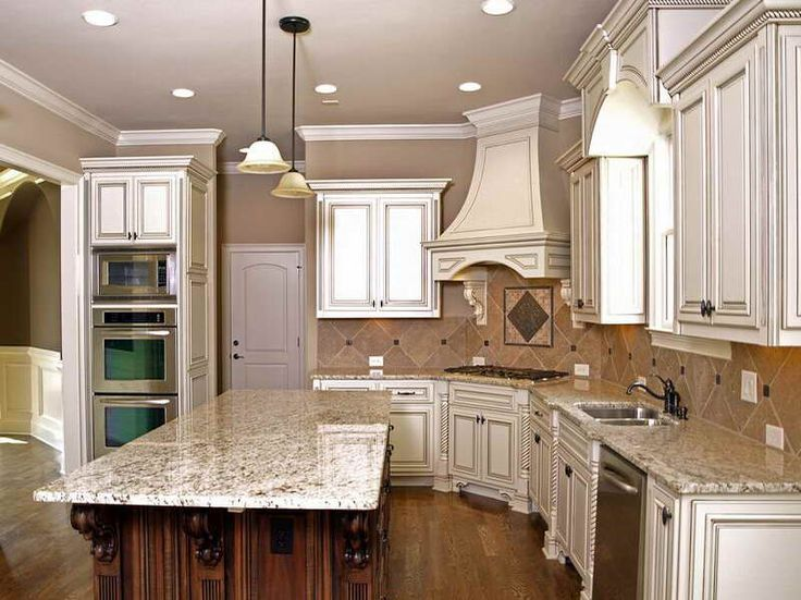 Kitchen, The Breathtaking Design Of Backspalsh With White Cabinet And  Pendant Lamp Also Brown Backsplash And White Granite Countertop