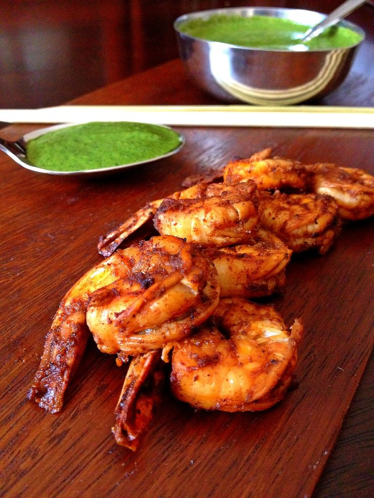 Bobby Flay's Grilled Shrimp Skewers with Cilantro-Mint Chutney.