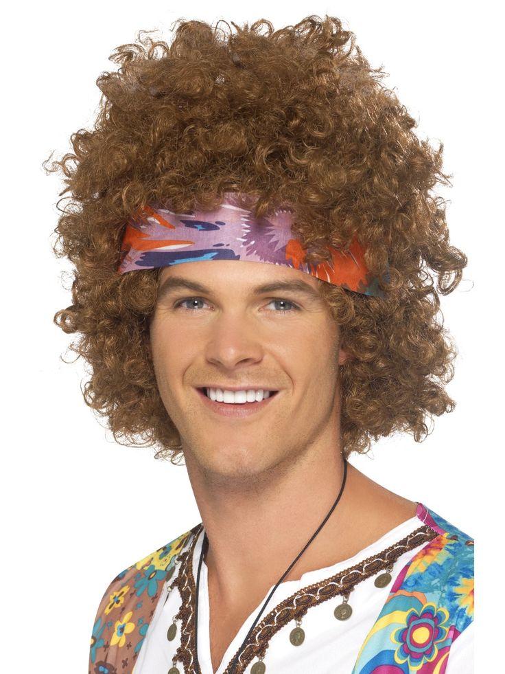 Hippi Afro -peruukki. Sisältää hippi afro -peruukin ja huivin.