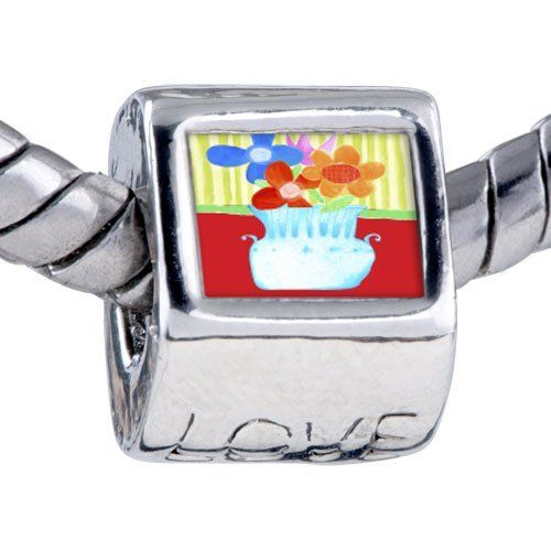 Pugster Vase Photo Love European Bead Holiday Fits Pandora Charm Bracelet Pugster. $12.49. Bracelet sold separately. Fit Pandora, Biagi, and Chamilia Charm Bead Bracelets. It's the photo on the love charm. Hole size is approximately 4.8 to 5mm. Unthreaded European story bracelet design