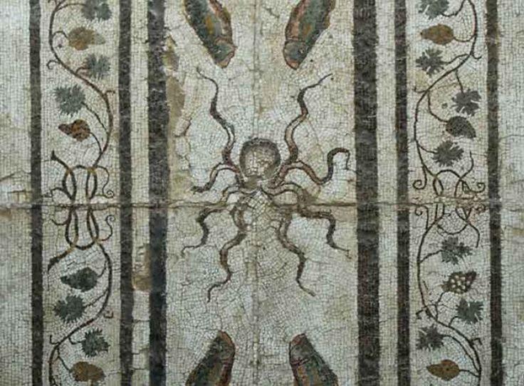 Impluvium, ossia vasca per la raccolta dell'acqua piovana, in una domus ellenistica a Larino (CB), con mosaico policromo raffigurante su campo bianco un polipo centrale e quattro cernie agli angoli; tutto intorno un'ampia cornice di tralci, pampini e grappoli.