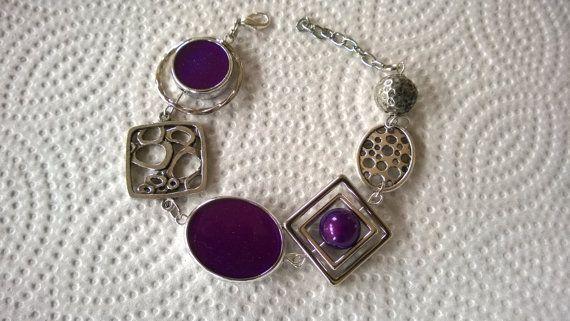 Set of bracelet and earrings  purple jewelry by LesBijouxLibellule