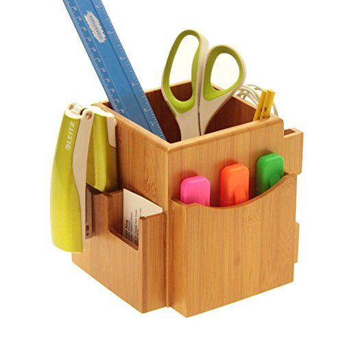 Revolving Desk Organiser, Space Saving Stationery Box. Desk Tidy. Made of Natural Bamboo