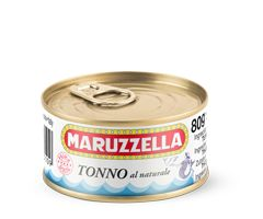Tuna in brine  Maruzzella tuna in brine is only made using top-quality, Yellowfin tuna. It is perfect for those looking for a healthy, wholesome, and above all, tasty product with low fat content (below 1%). Maruzzella tuna in brine is sold in 80 g and 160 g cans. There are also economy packages that allow you to stock up on Maruzzella tuna so it is never missing from your table.
