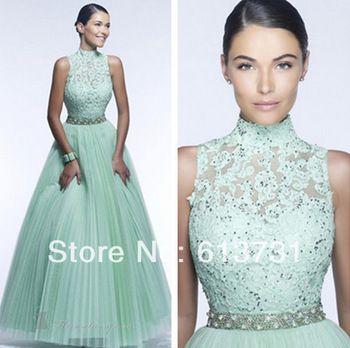 2014 new fashion collo alto applique tulle plissettato in rilievo un linered mint green lace prom abiti lunghi da sera, con schiena aperta