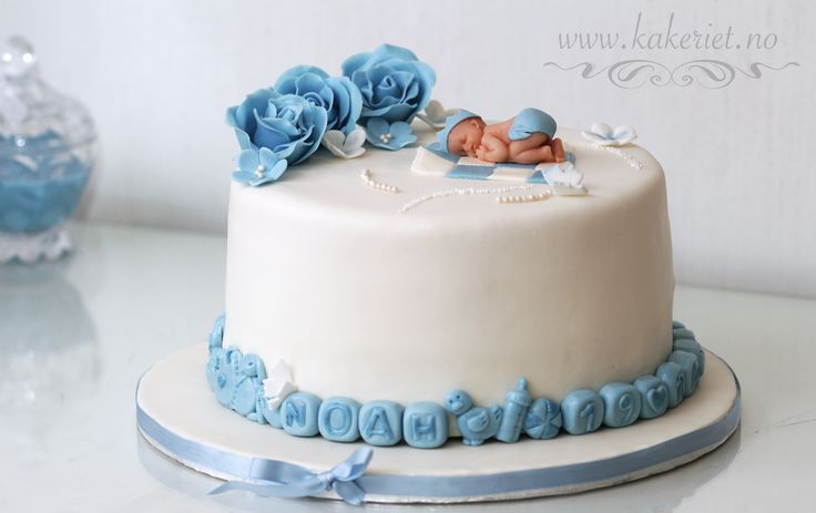 2014-10-19-Noah 02 Clean christening cake for a baby boy.