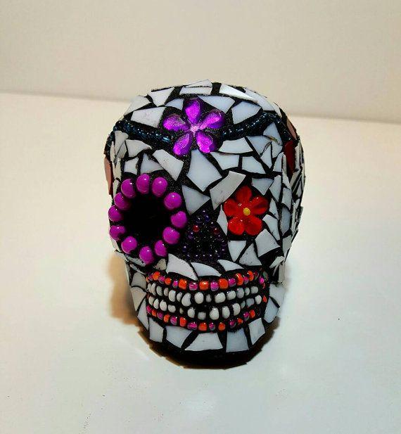 Sugar Skull Mini Mosaic sculpture FREE SHIPPING by MamaKatzMosaics