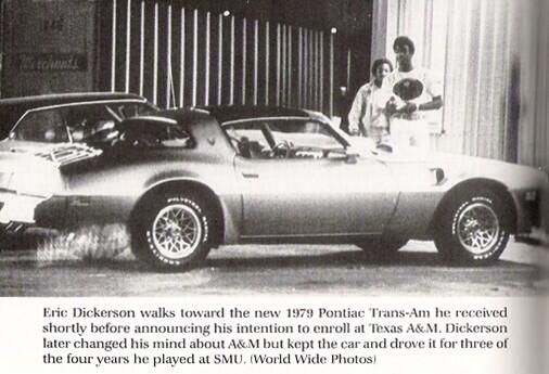 Eric Dickerson With His New Gold Trans Am Shortly Before
