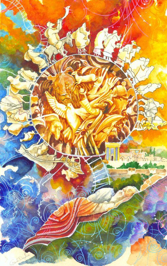 JACOB'S LADDER. Jewish Dream. jewish Art Judaica by art4heart2014