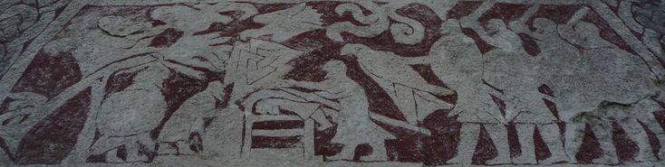 L'aigle de sang est un supplice consistant, soit à tailler un aigle sur le dos de la victime, soit à trancher ses côtes le long de la colonne vertébrale, puis à les déployer comme les ailes d'un aigle et à extraire les poumons de la poitrine. Son historicité est incertaine, mais il est peut-être représenté sur la pierre de Stora Hamamrs I (Gotland, Suède). Pour en savoir plus:http://www.fafnir.fr/aigle-de-sang.html.