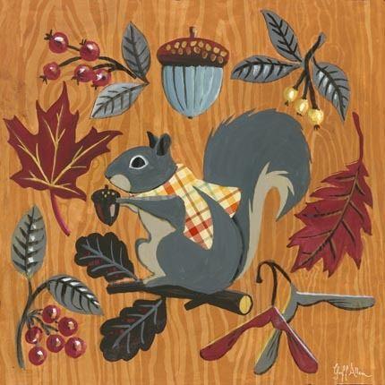 Woodland Plaid Squirrel By Geoff Allen