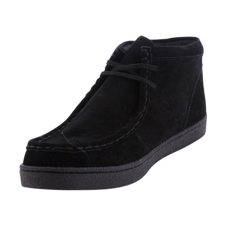 Hush Puppies - Boy's Wallbee Moc Toe Suede Boot - Black