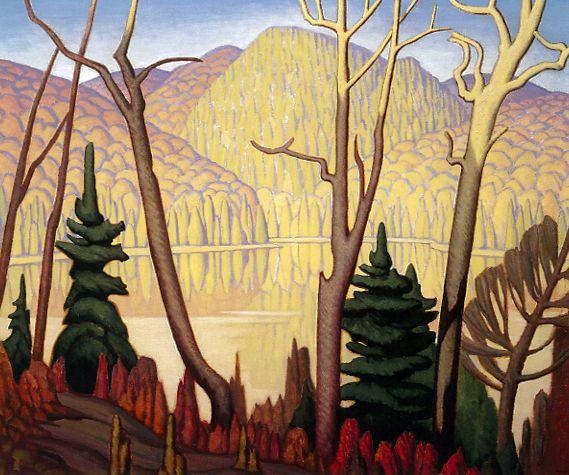 "Lawren Harris ""Swan Lake, Algonquin Park"" Oil on panel 10.5"" x 13.9"""