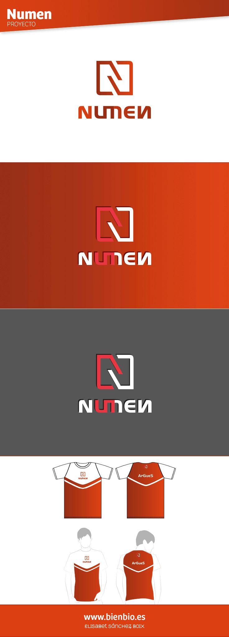"""Creación de #logotipo y #camisetas Numen para el equipo de competición de #videojuegos online """"League of legends"""". Juego de estrategia de acción a tiempo real en el que dos equipos (compuestos de cinco personas cada uno) se enfrentan en un ring de batalla cuadrado (siendo de un equipo cada mitad). Todo ello se refleja tanto en el símbolo: dividido en dos partes enfrentadas, formando un cuadrado con la letra """"n"""", como en la tipografía:  dos """"n"""" enfrentadas por el número de componentes """"5""""."""