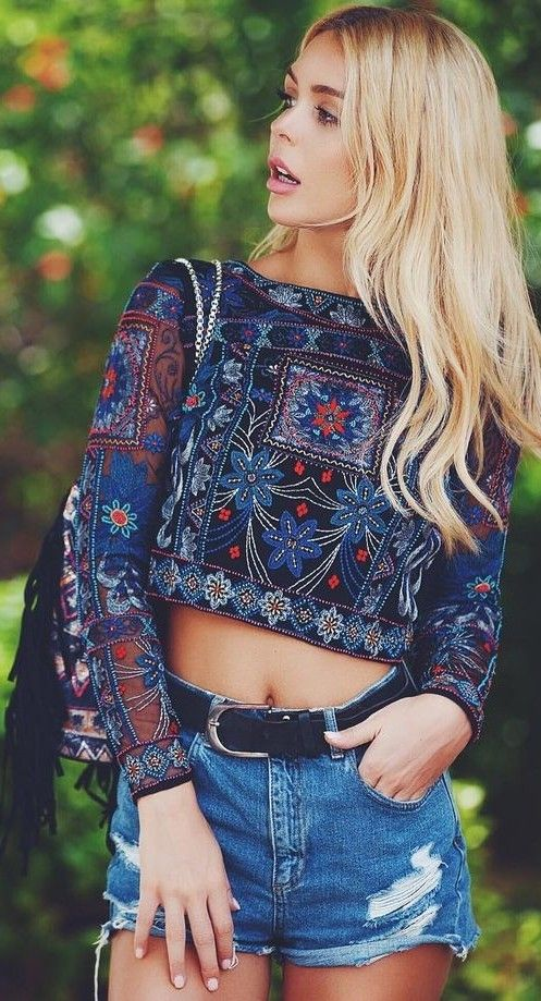 Embellished Crop Top + Shorts                                                                             Source