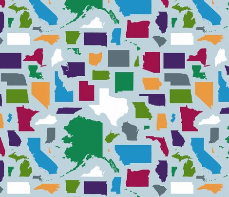 all_states_fabric_color fabric by primenumbergirl on Spoonflower - custom fabric