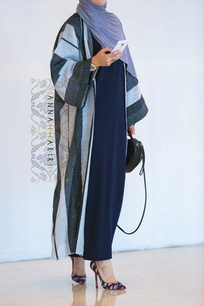Light summer abaya, Bisht, maxi pencil dress, grey jersey hijab - all at www.annahariri.com