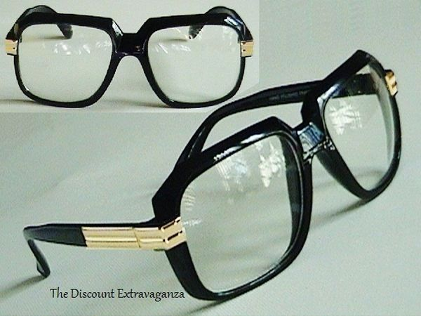 58616220d19e Run Dmc Cazal Design Clear Lens Gazelle Style Sun Glasses with Metal  Accents