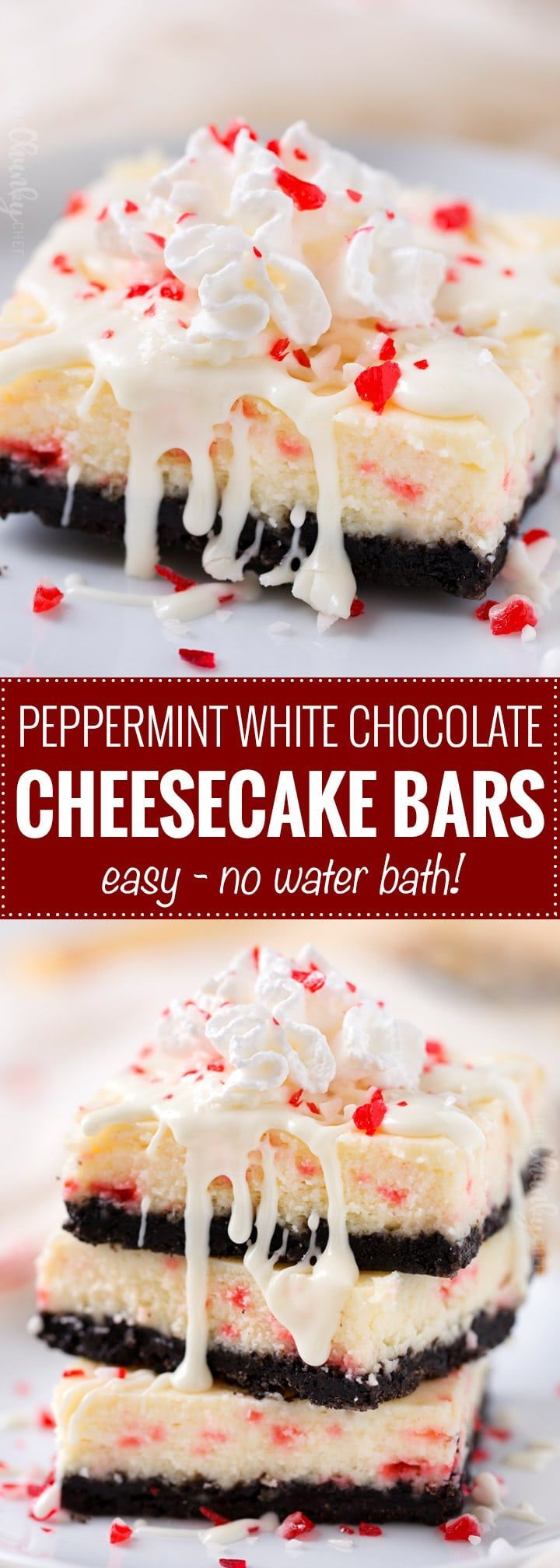 Peppermint White Chocolate Cheesecake Bars - An Oreo cookie crust, velvety smooth white chocolate peppermint cheesecake filling, candy cane pieces, and an extra drizzle of creamy white chocolate - The Chunky Chef
