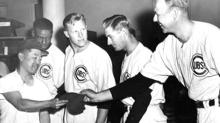 equipment custodian yosh kawano left in 1956. cubs players ernie banks, warren hacker, jim davis and bob rush. (ed feeney, chicago tribune)