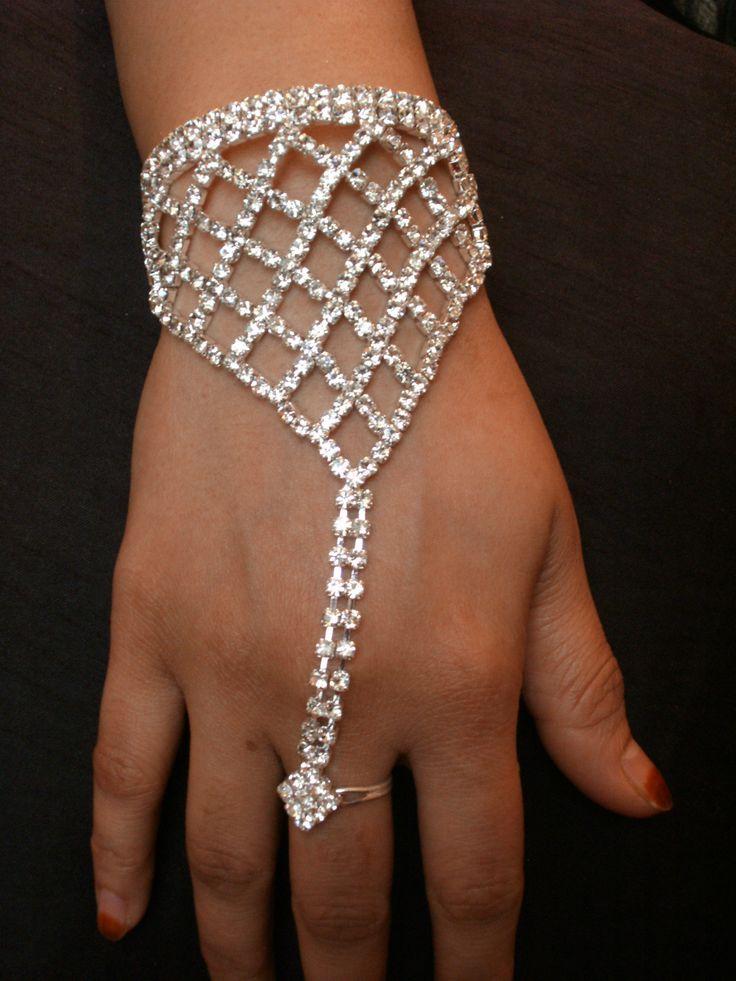 Beautiful Bollywood Indian Diamante Hand Jewellery Bracelet Panja uk.picclick.com