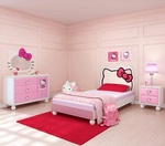 Hello Kitty® Bedroom In A Box-This supercute Hello Kitty Bedroom in a Box set comes with bed featuring an upholstered silhouette of Hello Kitty, a dresser, nightstand, and a matching wall mirror. FeaturesComplete bedroom set in a boxUpholstered PU he