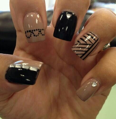 Black and nude nail design