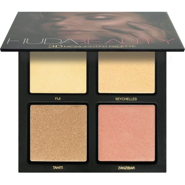 HUDA BEAUTY Golden Sands 3D Highlighter Palette found on Polyvore featuring beauty products, makeup, face makeup, highlight makeup and palette makeup