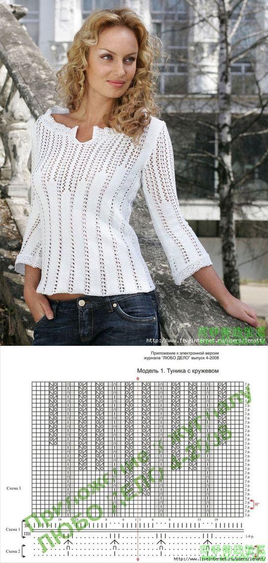 Спицы.Белый ажурный пуловер