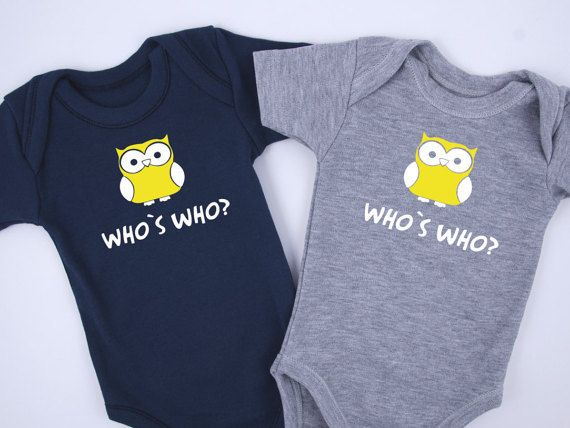 Identical Twin Boy Outfits WHO IS WHO Funny Twin by BabyBodysuits
