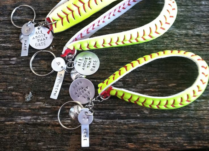 "Baseball Keychains. Handstamped Phrase ""All About that base"", keychain made from…"