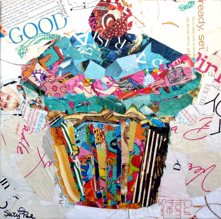 torn Paper Collage....Cupcake