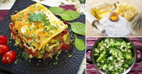 Lasaña+de+brócoli+y+hongos+con+salsa+de+tomate