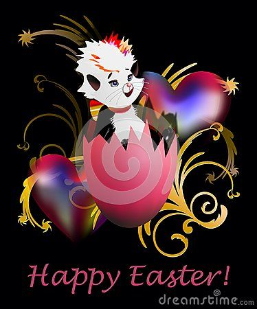 Happy Easter greeting card with a small cat in a broken egg and two hearts on black background.