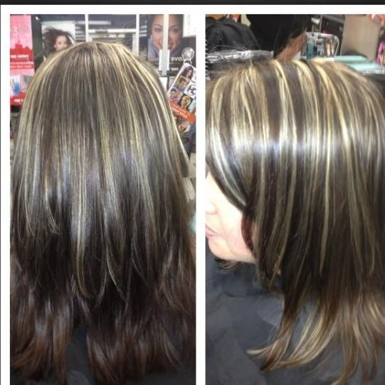 16 best hair color ideas images on pinterest beauty products all over color warm brown with medium chunky highlights pmusecretfo Choice Image