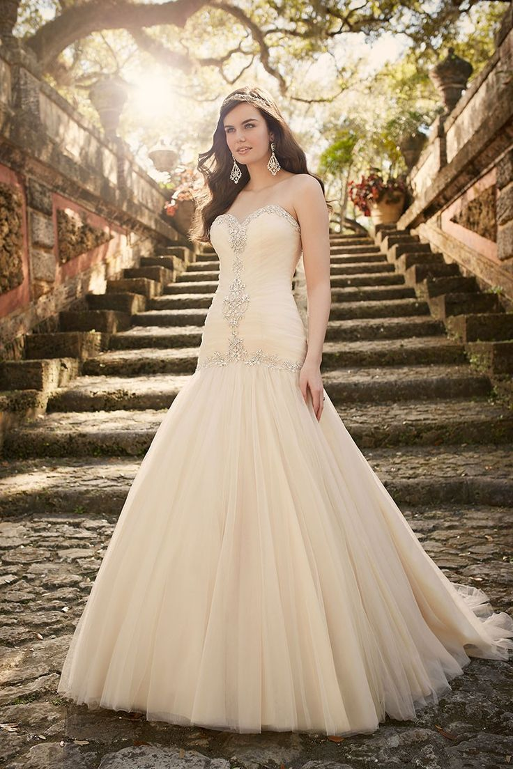 gothic style jewelry An elegant tulle over satin bridal gown courtesy of the Essense of Australia wedding dress collection