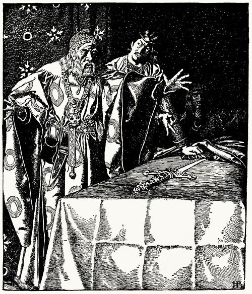 Sir Kay showeth the mystic sword unto Sir Ector.    From The story of King Arthur and his knights, written and illustrated by Howard Pyle, New York, 1904.