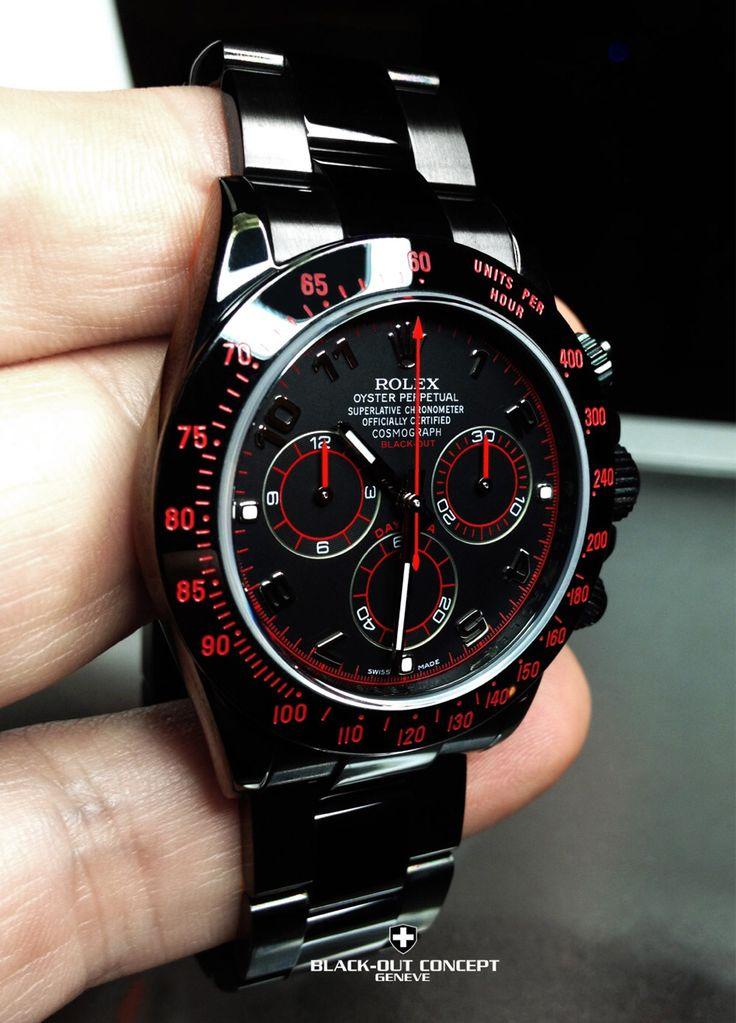 Een customized Rolex Daytona.  Bij Black-out Concept Genève weten ze er wel raad mee. Maak een account aan, stuur je horloge verzekerd op en 4 tot 6 weken later heb je een uniek exemplaar...... Wat vinden jullie?  www.almagazine.nl