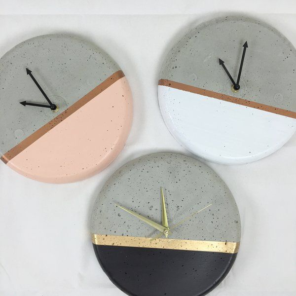 Dipped Concrete Clock- 28cm | Poppet & Button