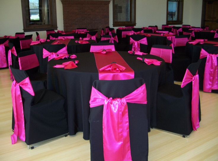 Hot Pink Satin Sashes And Table Runners Over Black Solid Polyester Chair  Covers And Tablecloths | Fuchsia/Hot Pink | Pinterest | Chair Covers, ...