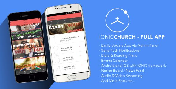 Ionic Church - Full Application . Ionic Church is a full Ionic template developed to help you create a multi-functional app for Churches. Ionic Church comes with loads of features and an incredible user interface to change or adopt to your own satisfaction! Social sharing, Push Notifications, Video On Demand, Events Calendar,