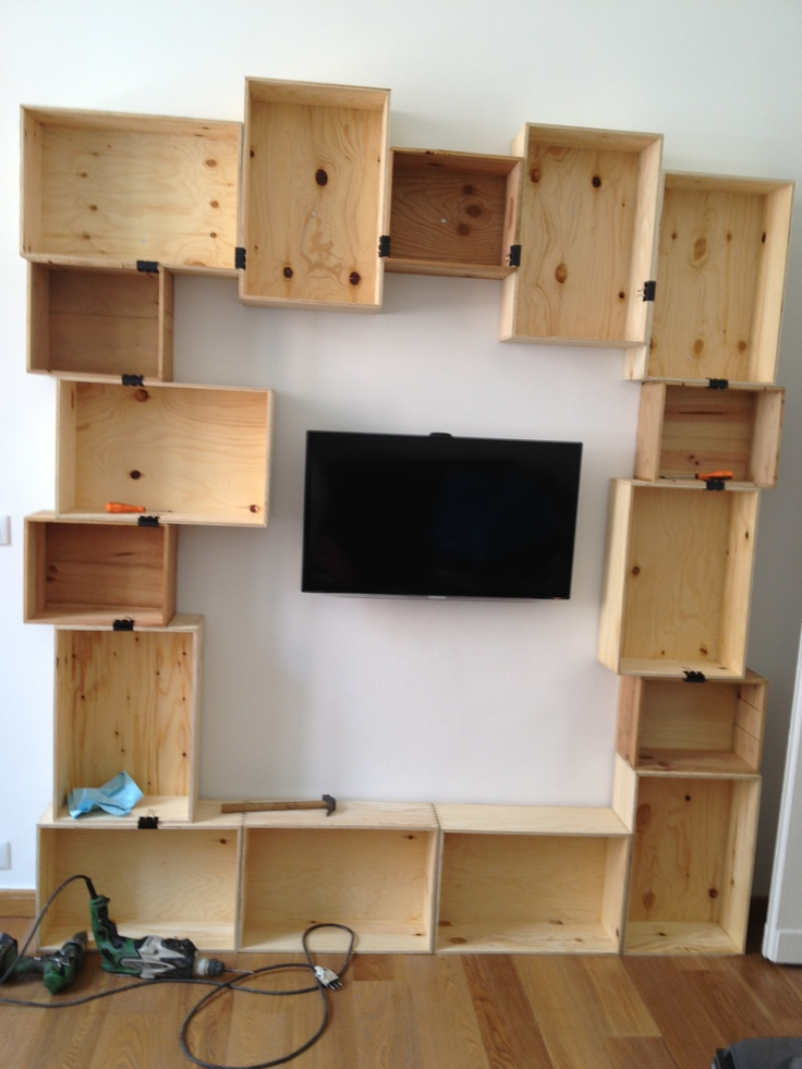 Diy Craft Wine Boxes Bookshelf Just Completed Library