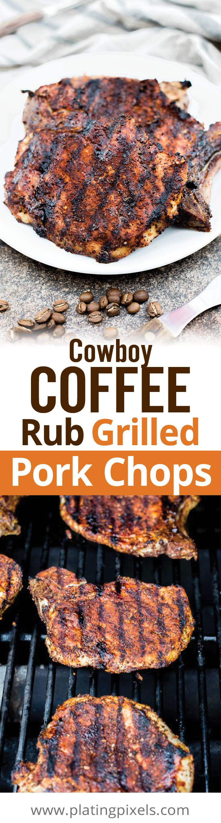 Easy spiced Cowboy Coffee Rub Grilled Pork Chops. Coffee, brown sugar, smoked paprika, garlic, cumin, spices and herbs creates caramelized, tender grilled pork. Clean, natural ingredients for a gluten free, healthy barbecue meat. - www.platingpixels.com
