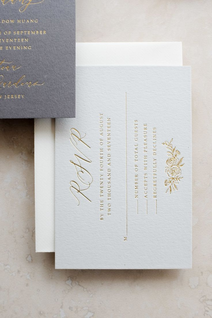pretty gray on gray wedding invitation 768