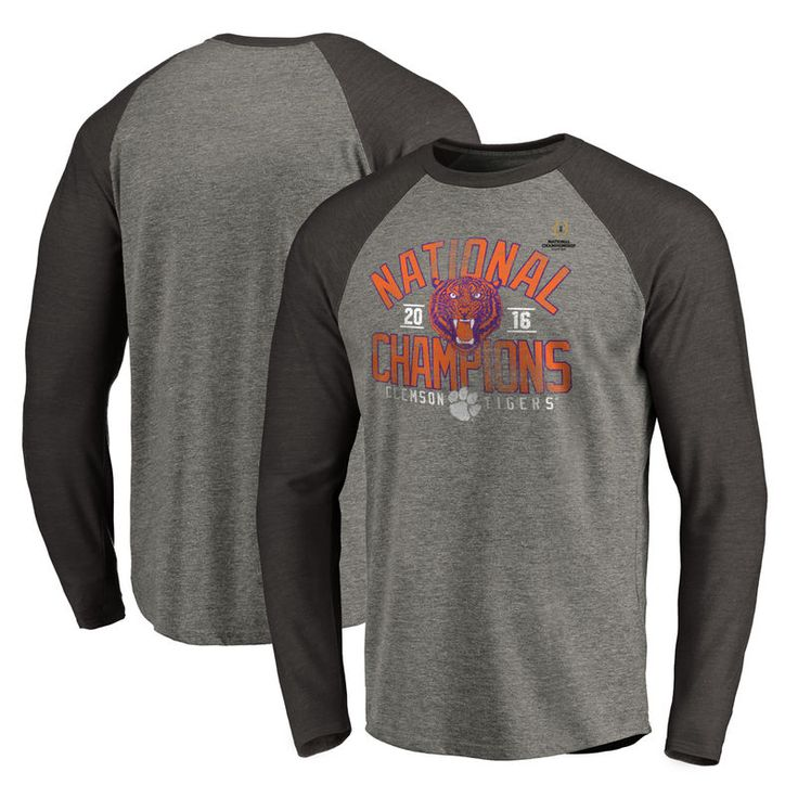 Clemson Tigers Fanatics Branded College Football Playoff 2016 National Champions Screen Pass Raglan Long Sleeve T-Shirt - Gray/Charcoal